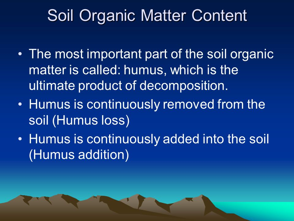Soil Organic Matter Content