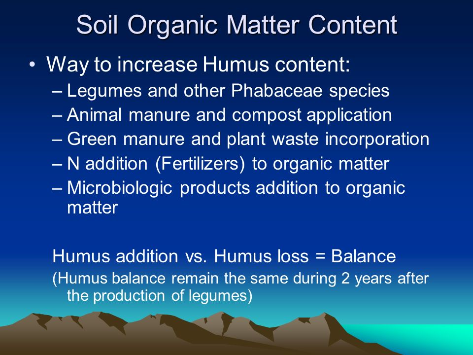 soil and organic matter Comparing the soil organic matter on conventional and organic farms found 26 percent more long-term carbon storage potential on organic farms.