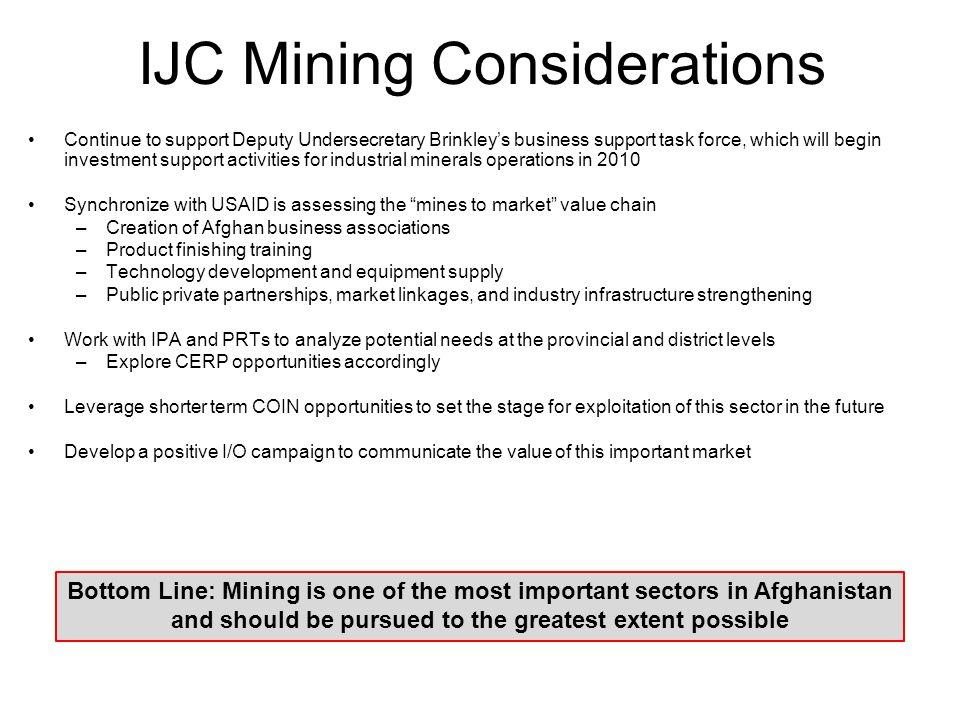 IJC Mining Considerations