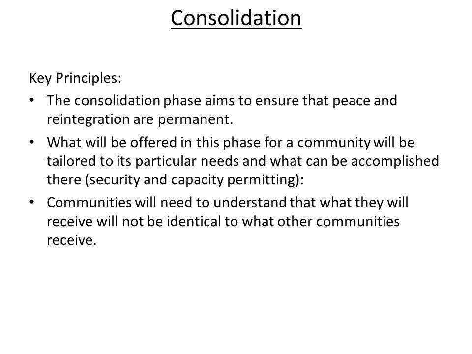 Consolidation Key Principles: