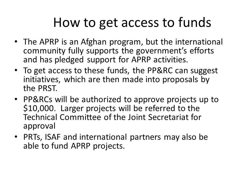 How to get access to funds