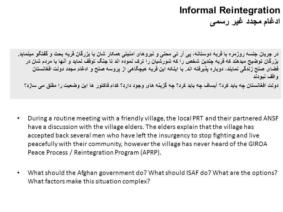 Informal Reintegration ادغام مجدد غیر رسمی