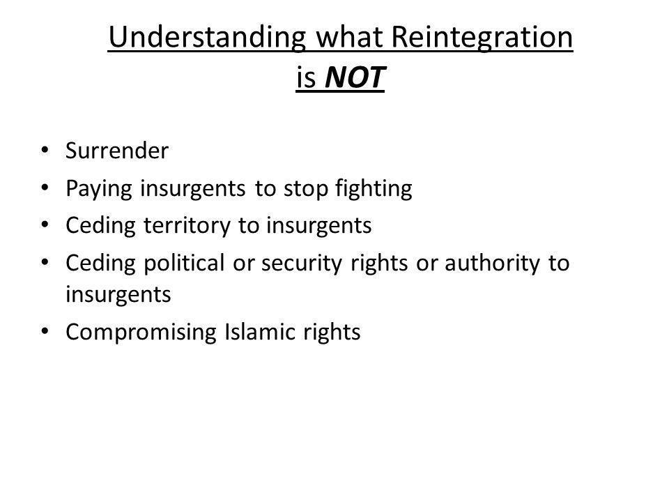 Understanding what Reintegration is NOT