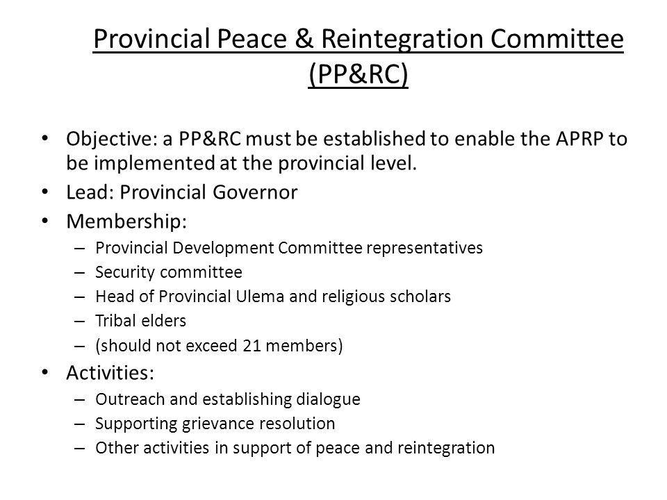 Provincial Peace & Reintegration Committee (PP&RC)