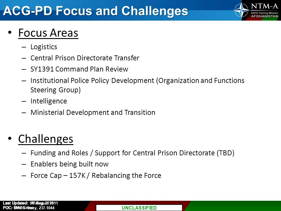 ACG-PD Focus and Challenges