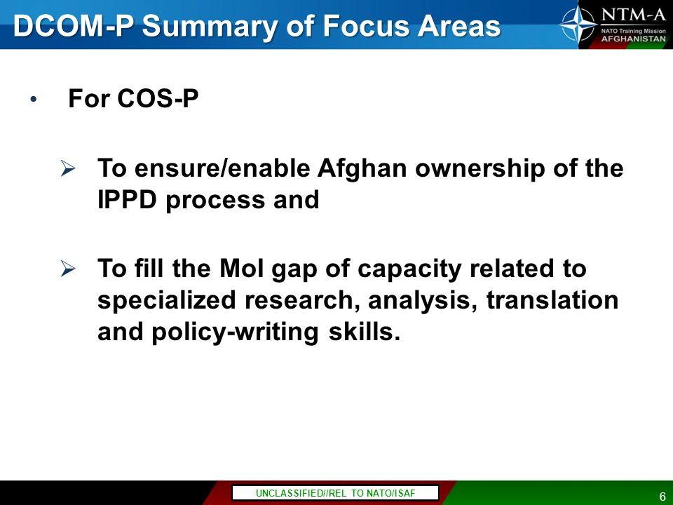 DCOM-P Summary of Focus Areas