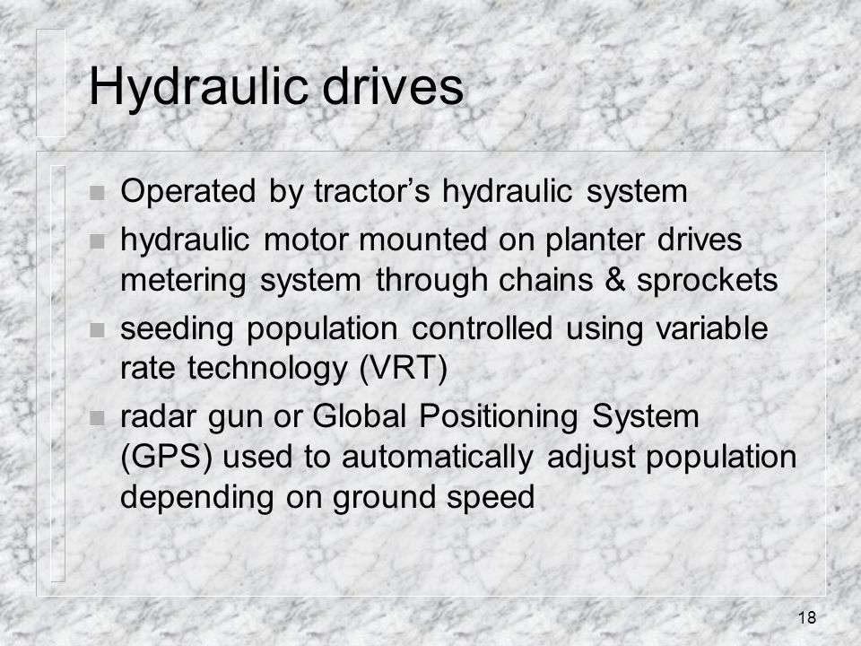 Hydraulic drives Operated by tractor's hydraulic system