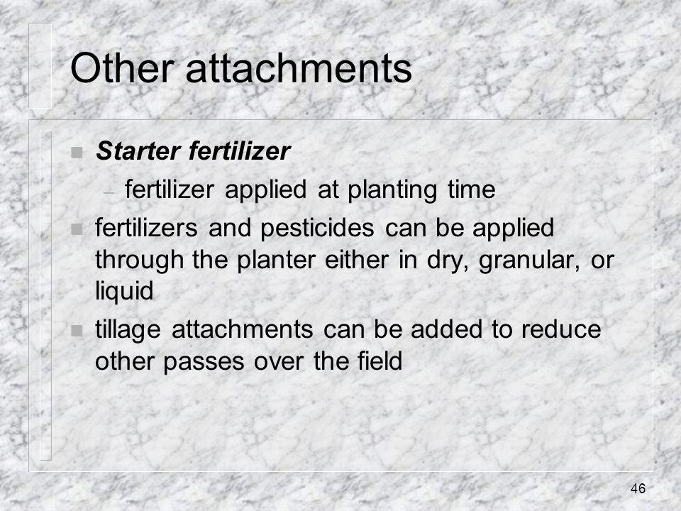 Other attachments Starter fertilizer