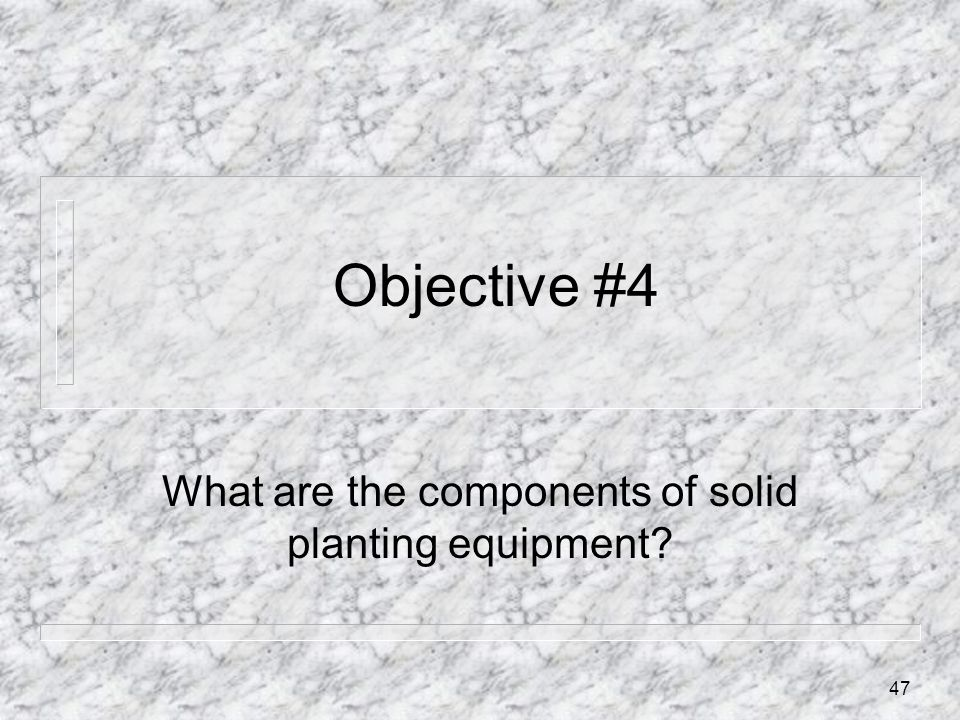 What are the components of solid planting equipment