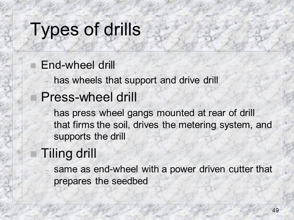 Types of drills Press-wheel drill Tiling drill End-wheel drill