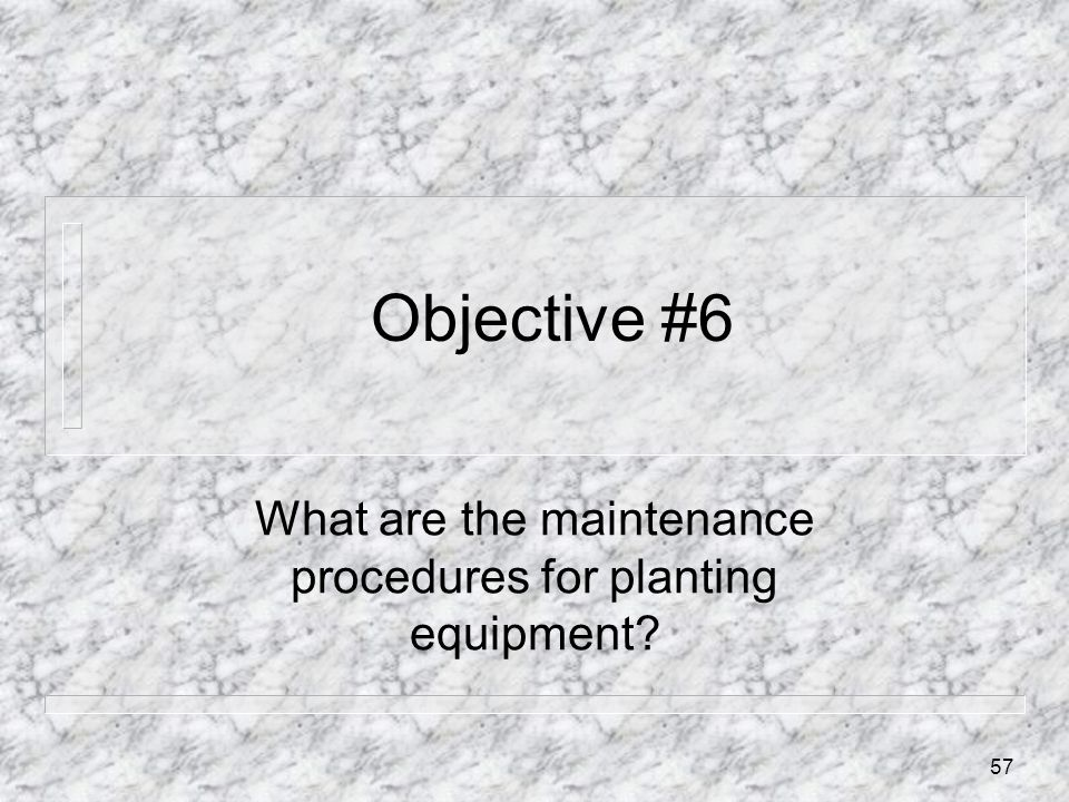 What are the maintenance procedures for planting equipment