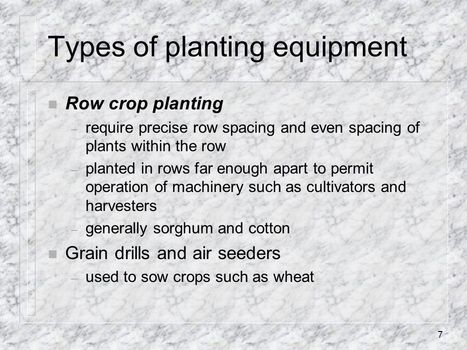 Types of planting equipment
