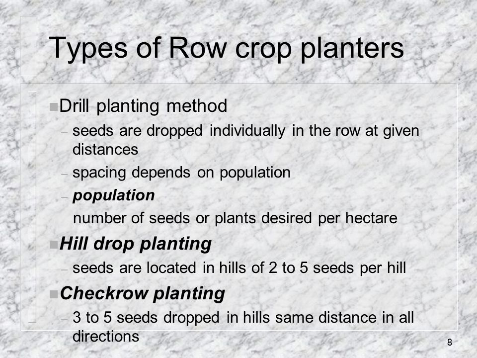 Types of Row crop planters