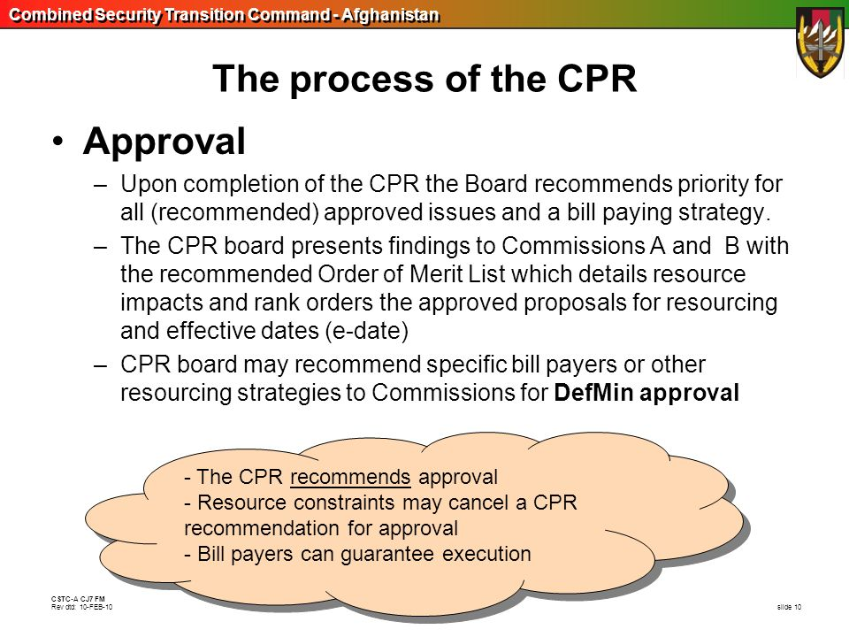 The process of the CPR Approval