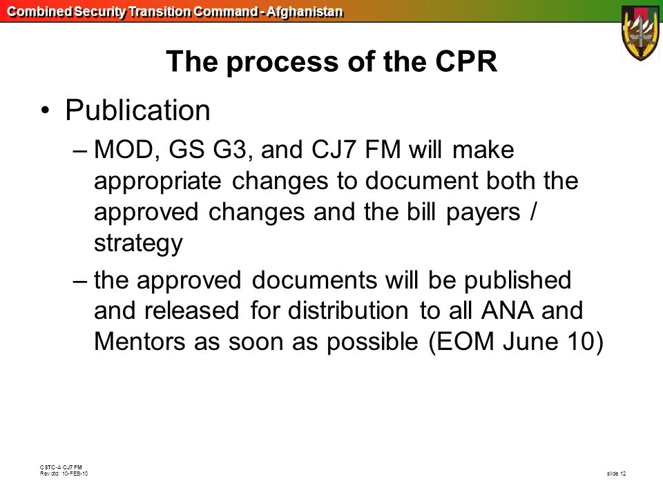 The process of the CPR Publication