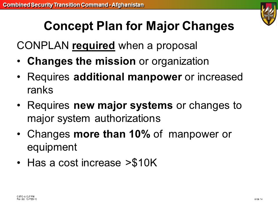 Concept Plan for Major Changes