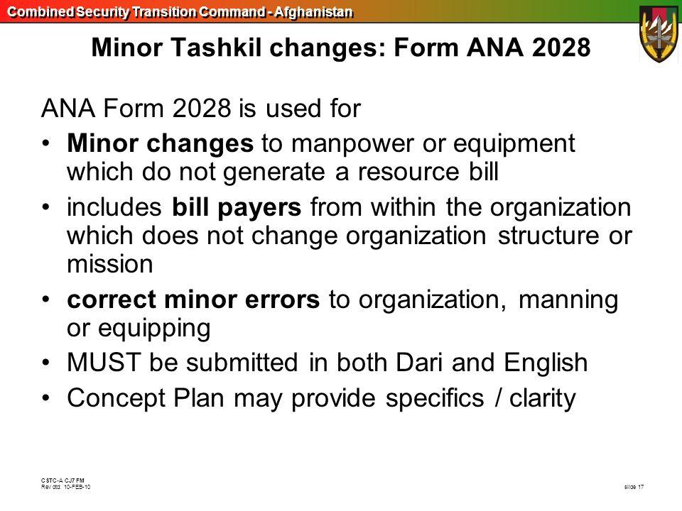 Minor Tashkil changes: Form ANA 2028