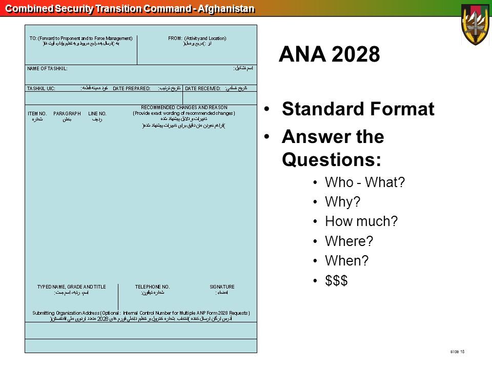 ANA 2028 Standard Format Answer the Questions: Who - What Why