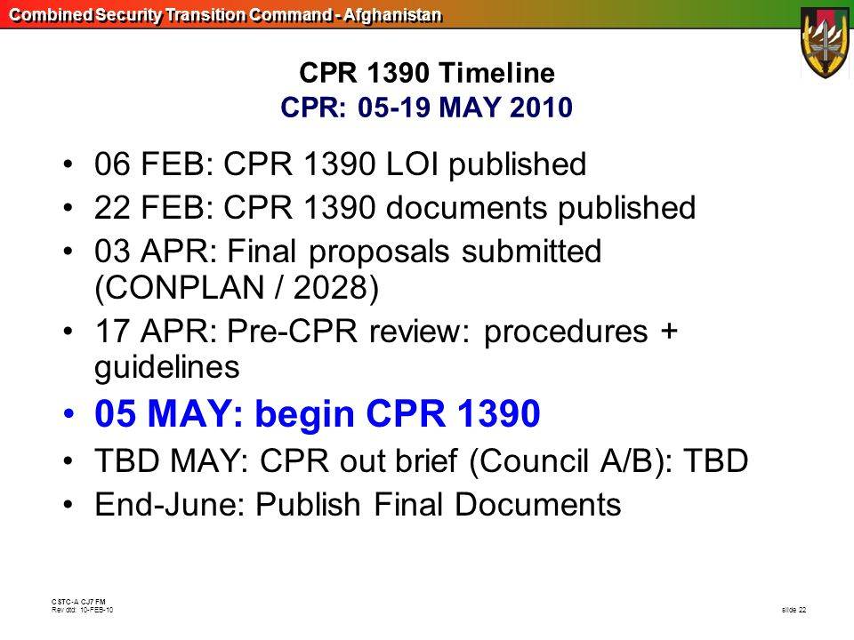 05 MAY: begin CPR 1390 06 FEB: CPR 1390 LOI published