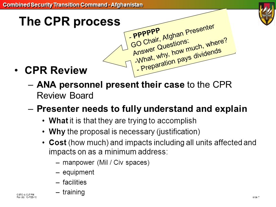 The CPR process CPR Review