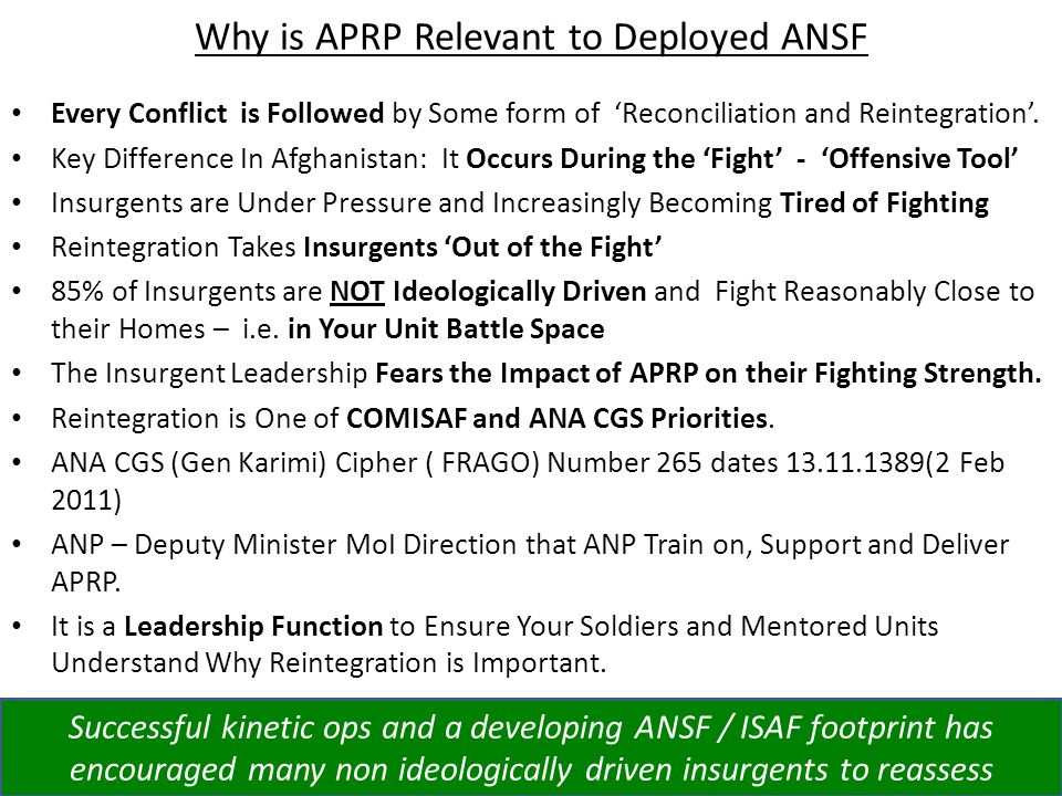 Why is APRP Relevant to Deployed ANSF