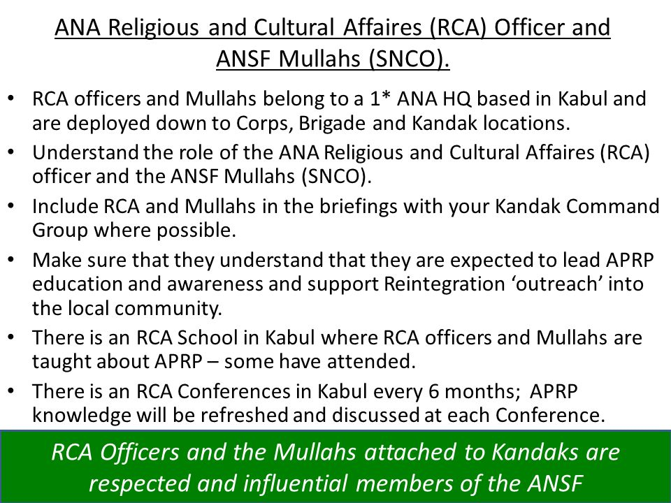 ANA Religious and Cultural Affaires (RCA) Officer and ANSF Mullahs (SNCO).