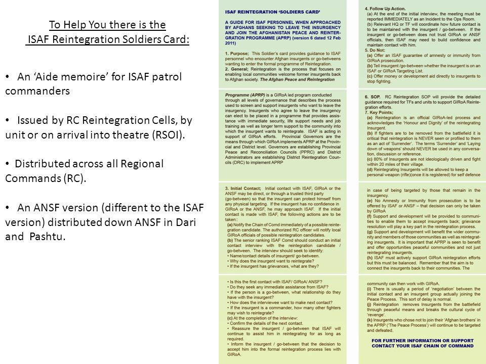 ISAF Reintegration Soldiers Card:
