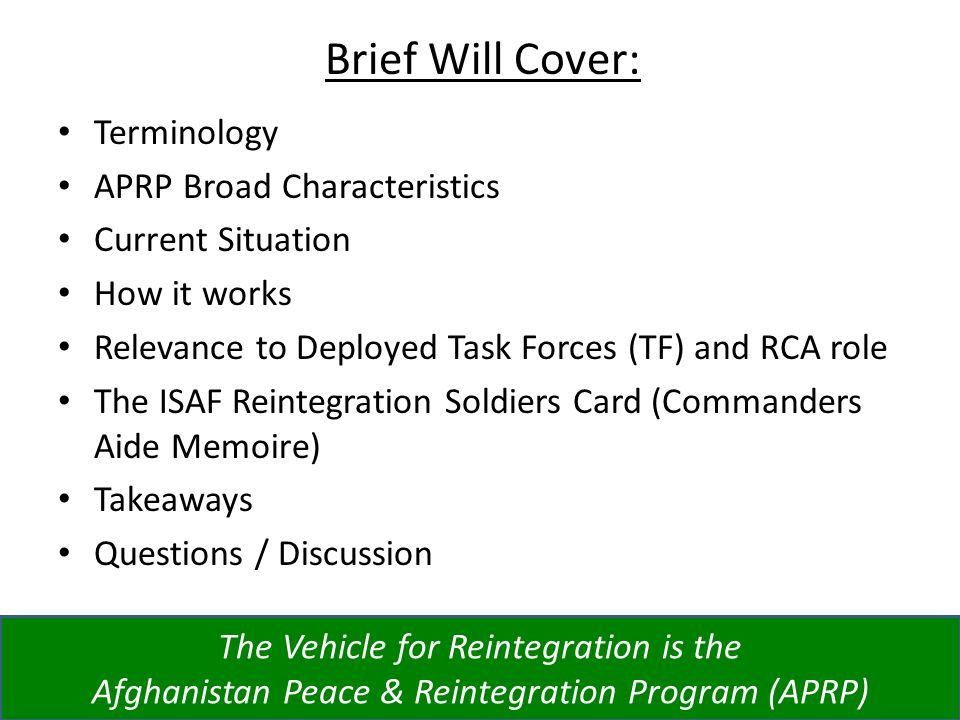 Brief Will Cover: Terminology APRP Broad Characteristics