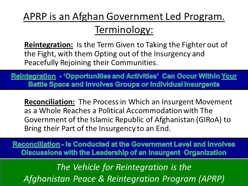 APRP is an Afghan Government Led Program. Terminology: