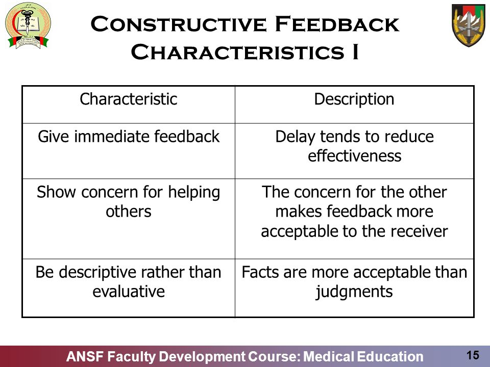 Constructive Feedback Characteristics I