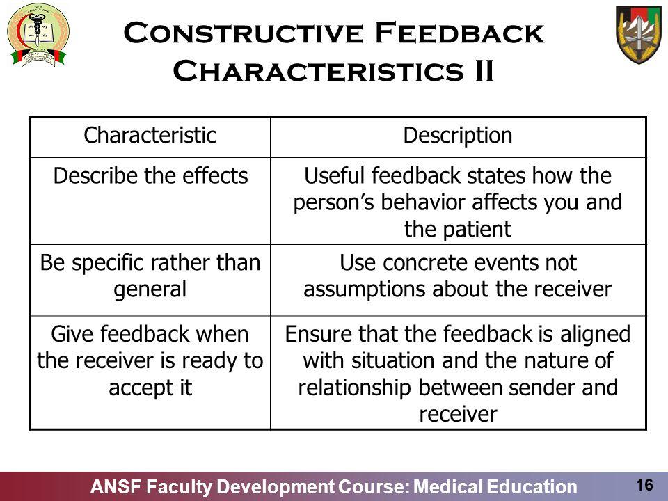 Constructive Feedback Characteristics II