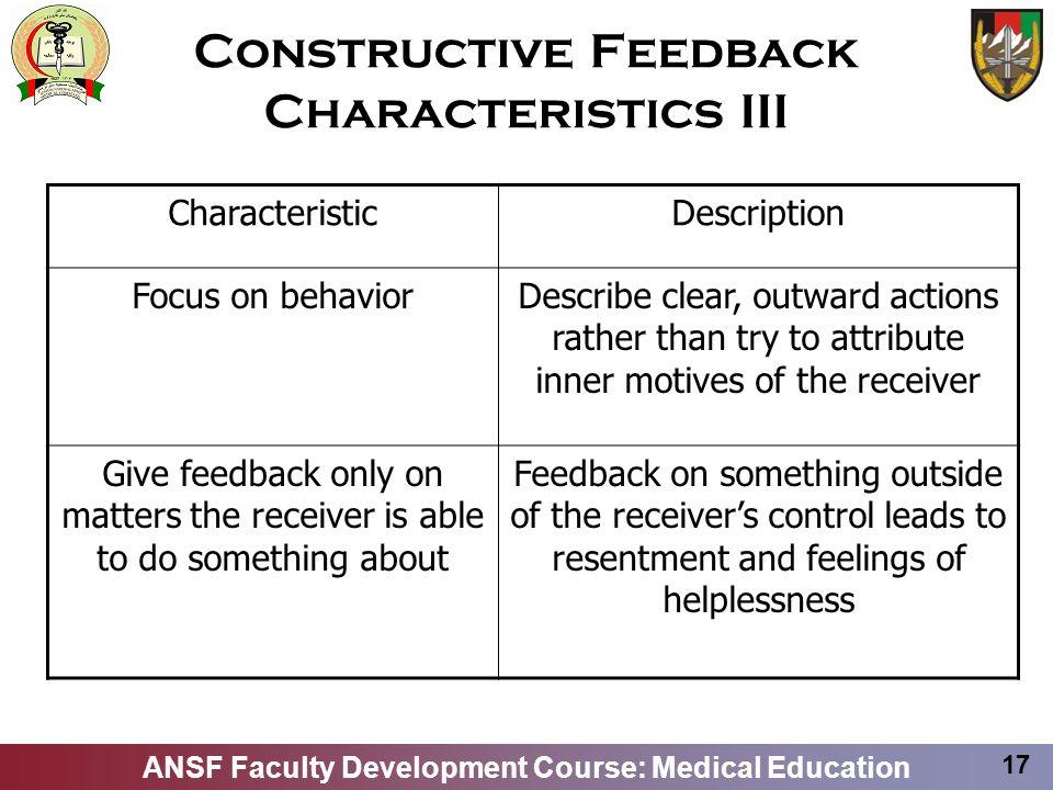 Constructive Feedback Characteristics III