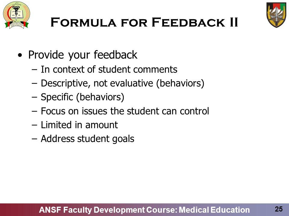 Formula for Feedback II