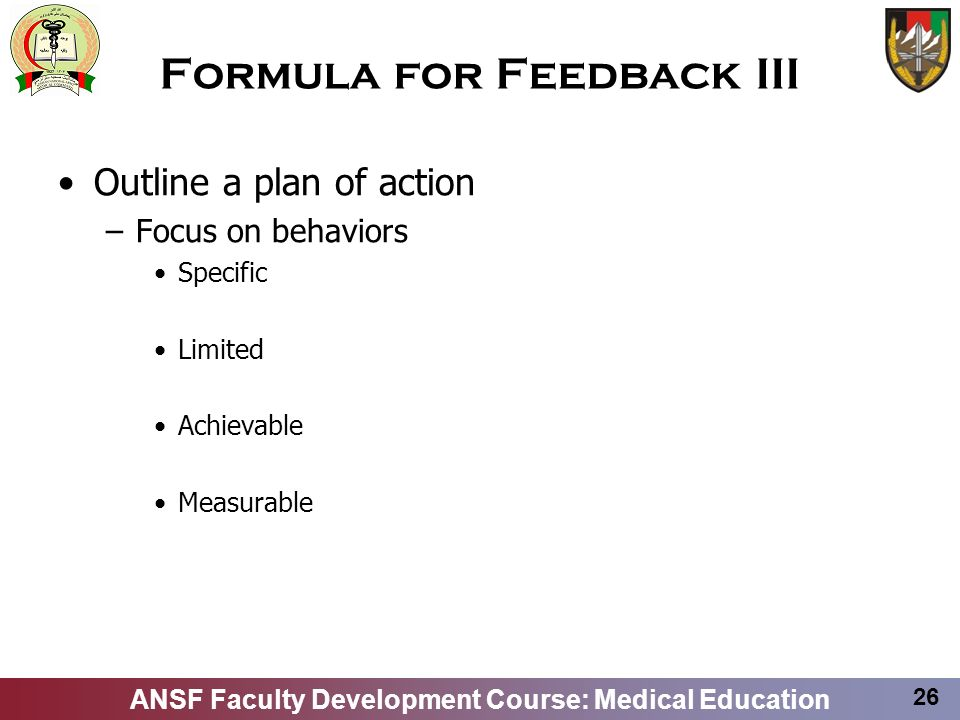 Formula for Feedback III