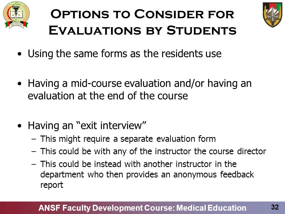 Options to Consider for Evaluations by Students