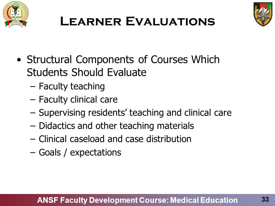 Learner EvaluationsStructural Components of Courses Which Students Should Evaluate. Faculty teaching.