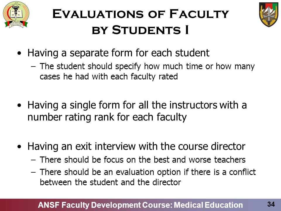 Evaluations of Faculty by Students I