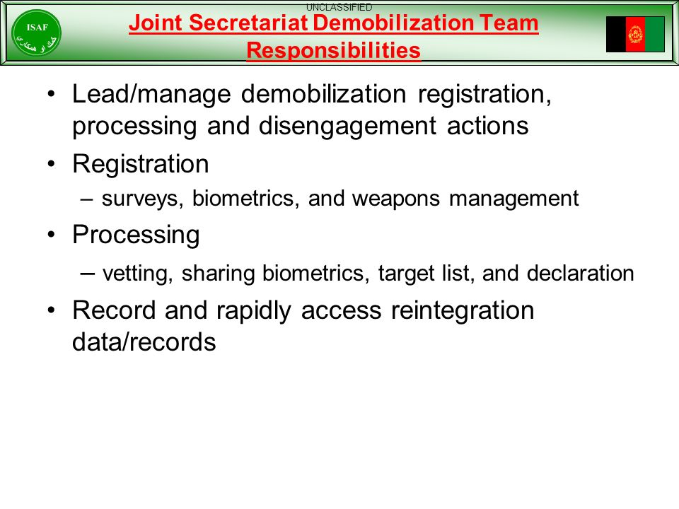 Joint Secretariat Demobilization Team Responsibilities