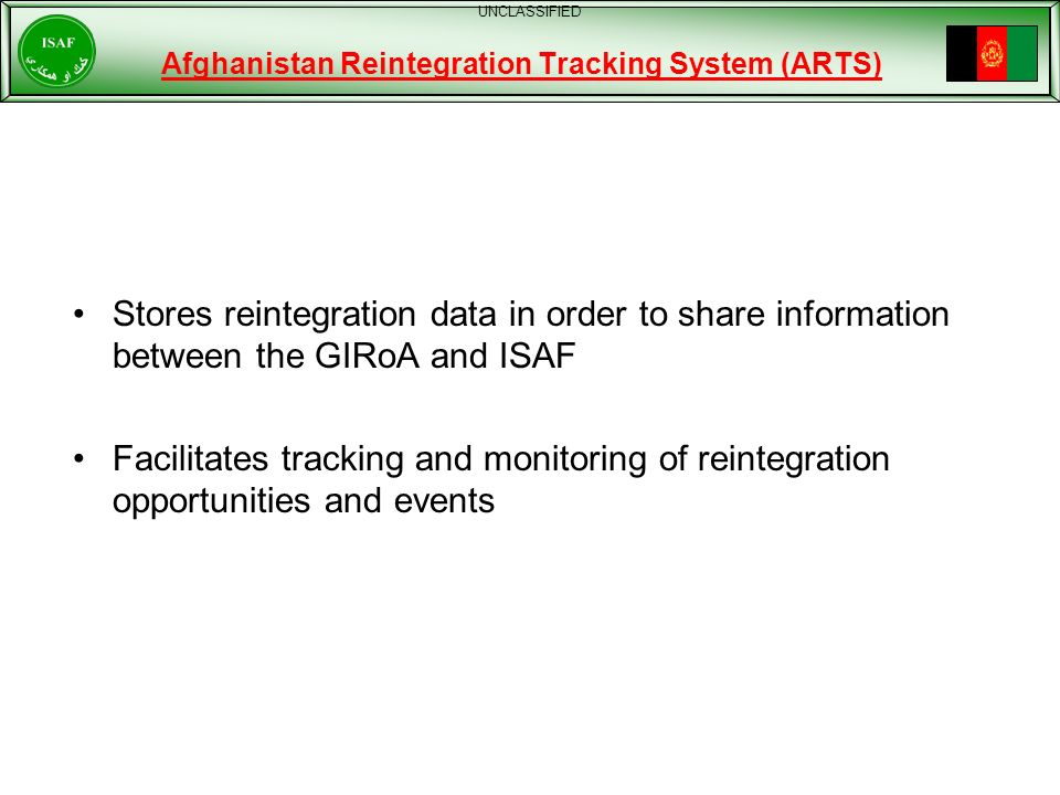 Afghanistan Reintegration Tracking System (ARTS)