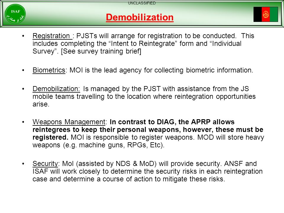 UNCLASSIFIED Demobilization.