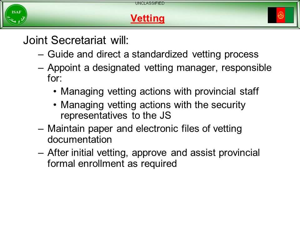 Joint Secretariat will: