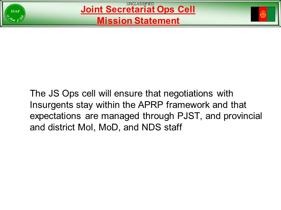 Joint Secretariat Ops Cell Mission Statement