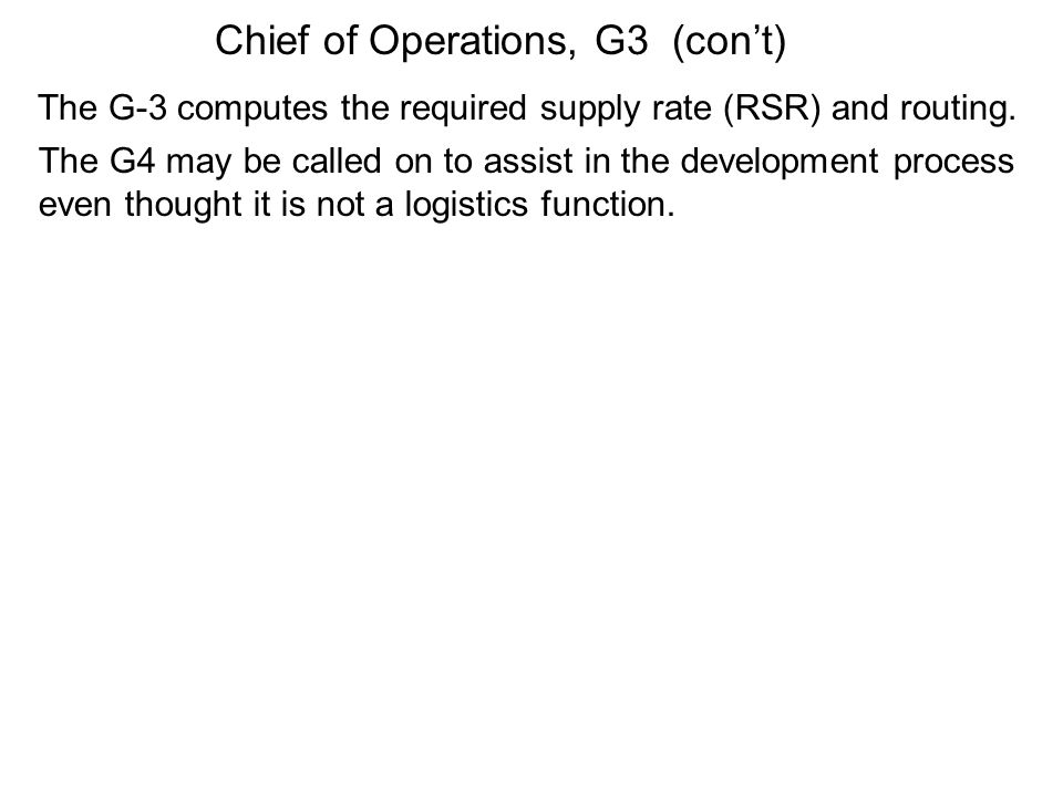 Chief of Operations, G3 (con't)
