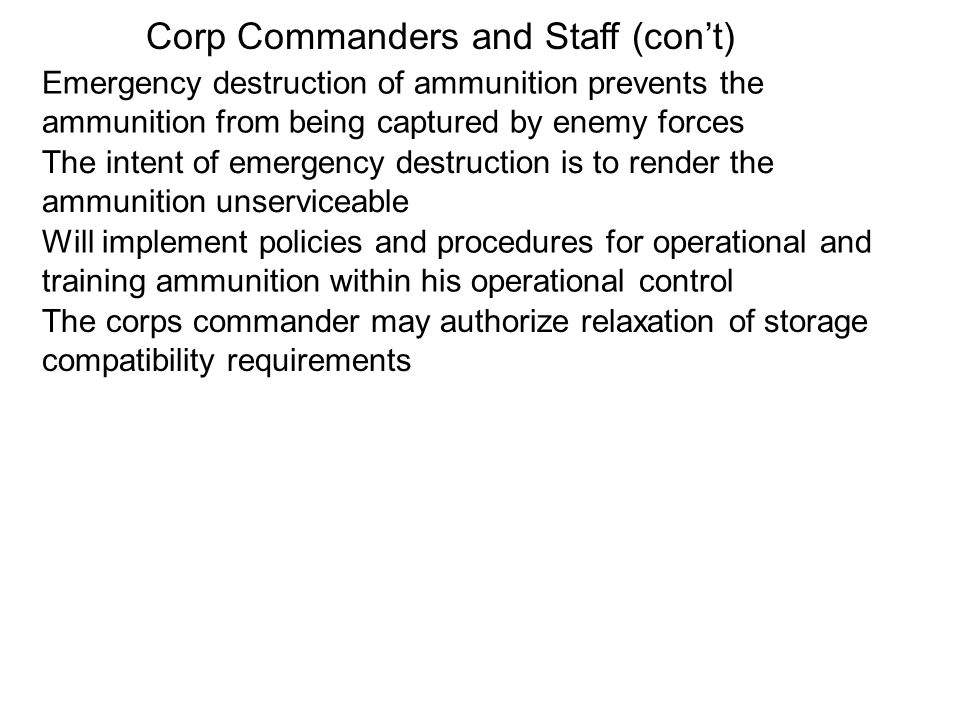 Corp Commanders and Staff (con't)