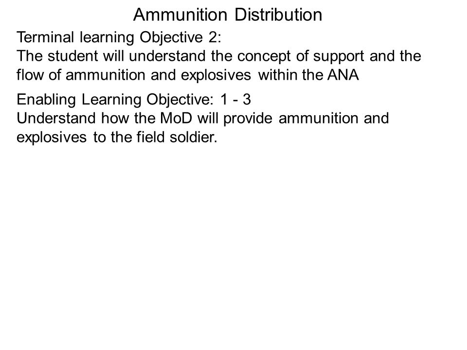 Ammunition Distribution