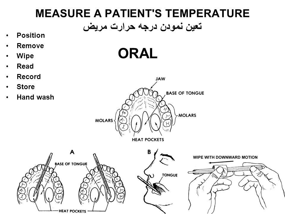 MEASURE A PATIENT S TEMPERATURE تعین نمودن درجه حرارت مریض