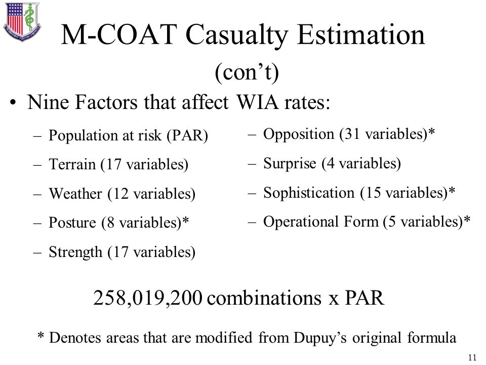 M-COAT Casualty Estimation (con't)
