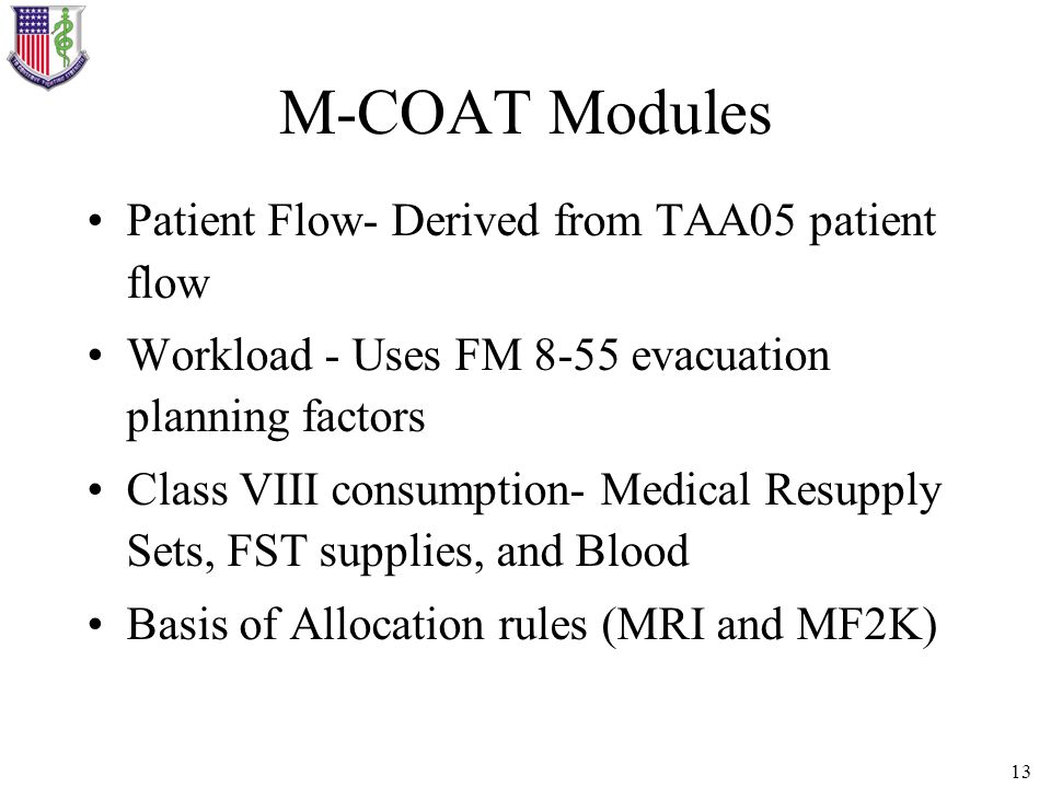 M-COAT Modules Patient Flow- Derived from TAA05 patient flow