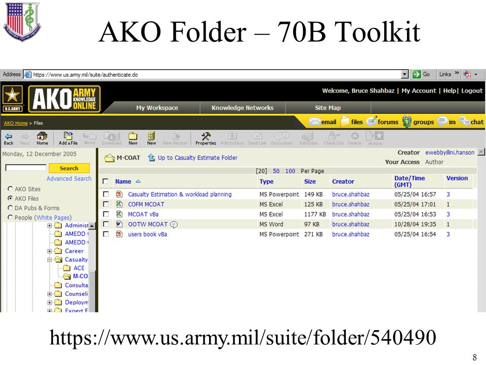 AKO Folder – 70B Toolkit https://www.us.army.mil/suite/folder/540490