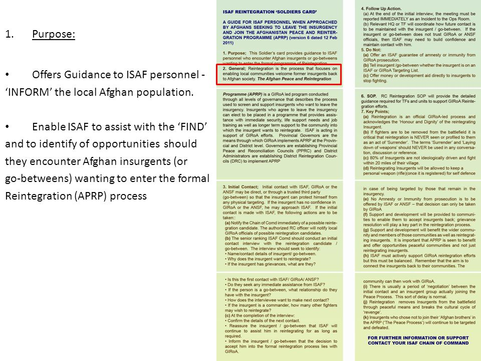 Offers Guidance to ISAF personnel -